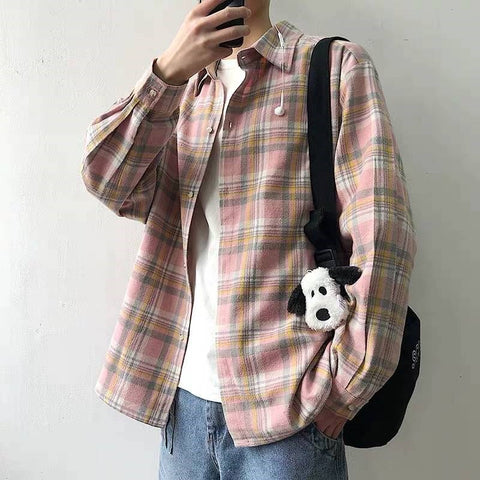 Long-sleeved loose-fit check shirt