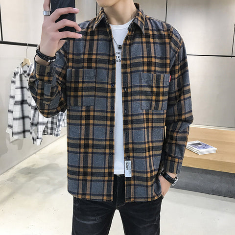 Casual men's long sleeve plaid shirt