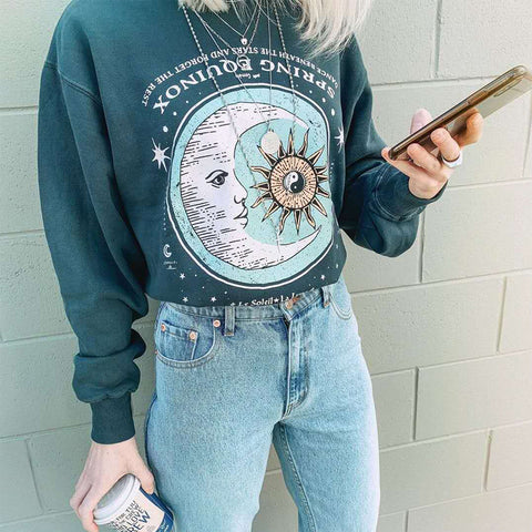 Sun And Moon Printed Dark Green Sweatshirts