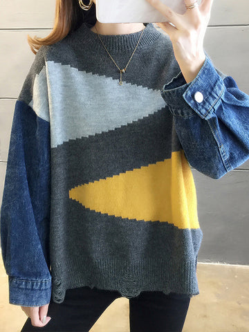 Round Neck Patchwork Long Sleeve Knit Pullover