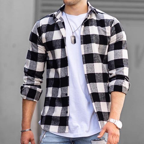 Casual plaid texture long sleeve shirt