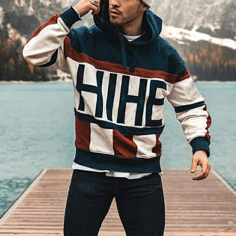 New men's fashion color contrast stitching letter printed sweater
