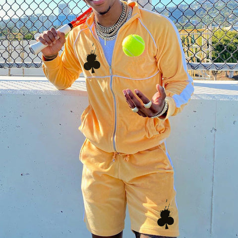 Mens yellow jacket sports suit