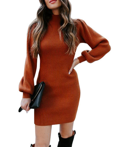 High neck slim knitted sweater dress
