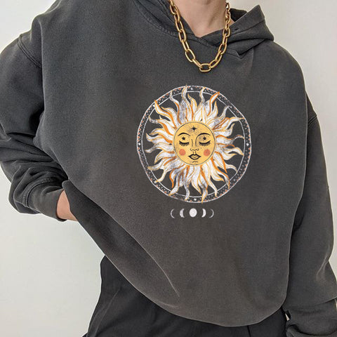 All-match fun sun print hoodie