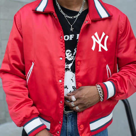 Street fashion baseball lapel jacket