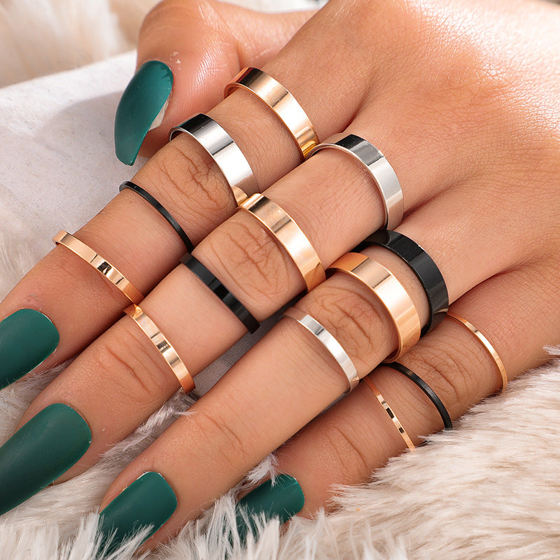 New ring creative fashion wild three-color thickness ring 14-piece joint ring