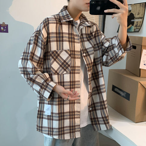 Retro loose plaid shirt