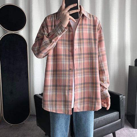 Check loose casual shirt