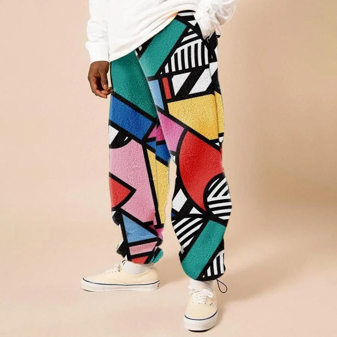 Mens fashion street style printed casual pants
