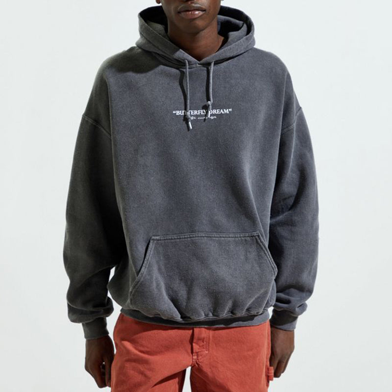 Men's Street Hooded Print Patch Pocket Sweatshirt