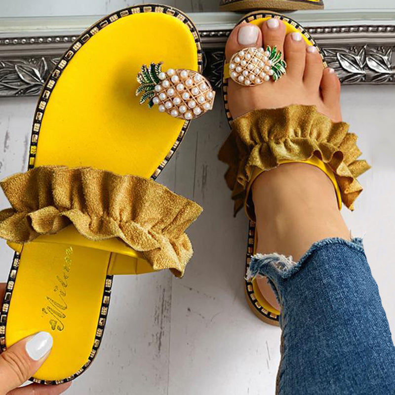 Women's Casual Pineapple Decorative Ruffle Sandals