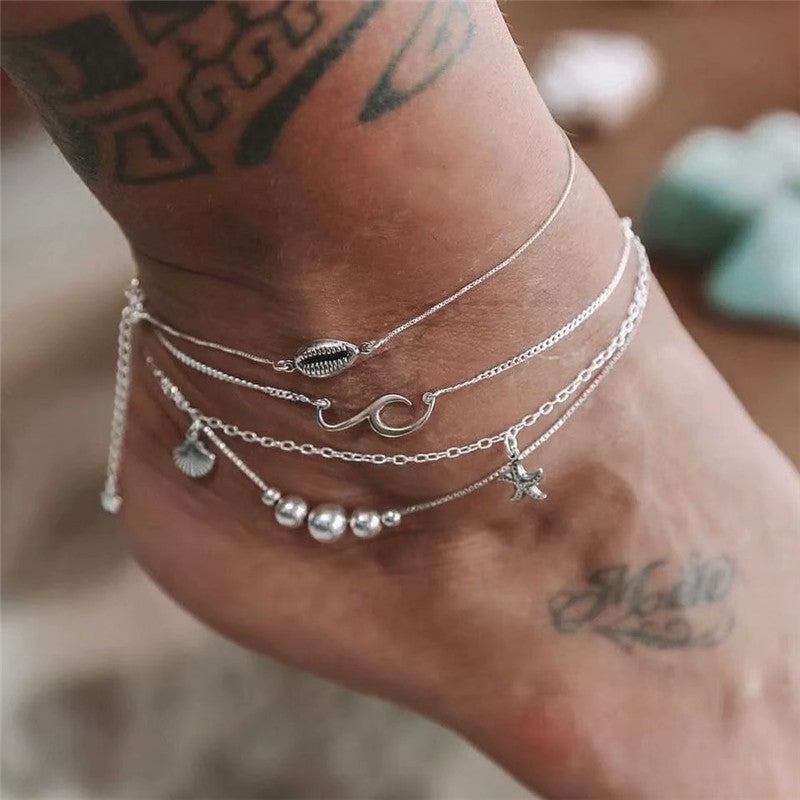 Women's simple shell beaded alloy anklet