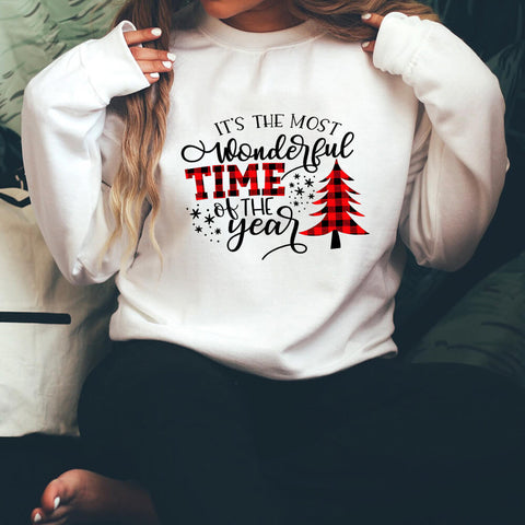 Letter Christmas tree print sweatshirt