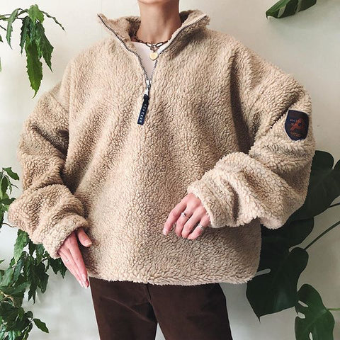Vintage Round Neck Pure color Long Sleeve sweatshirt