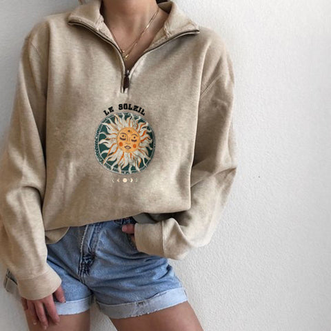 Ladies Casual Long-sleeved Sun Print Sweatshirt