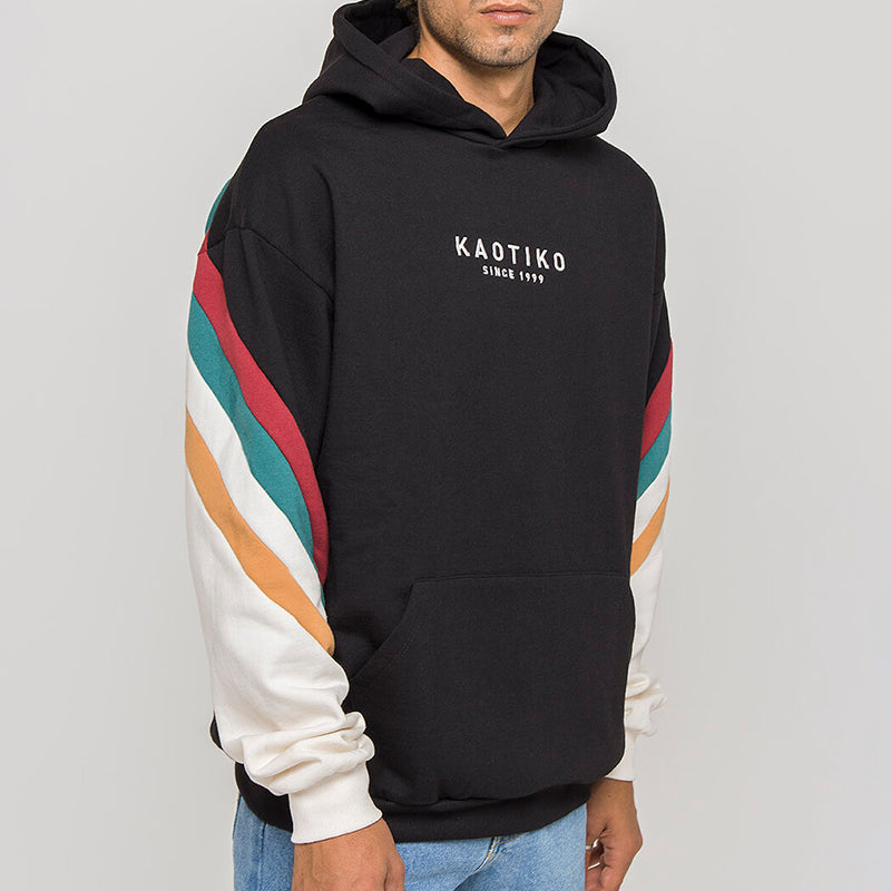 Men's Modern Casual Contrast Color Long Sleeve Hoodie