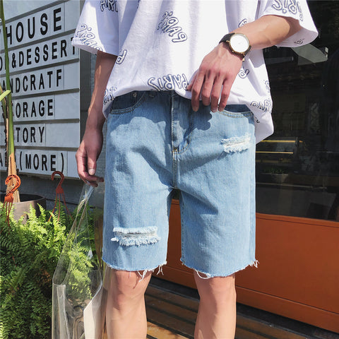 Men's casual ripped denim shorts