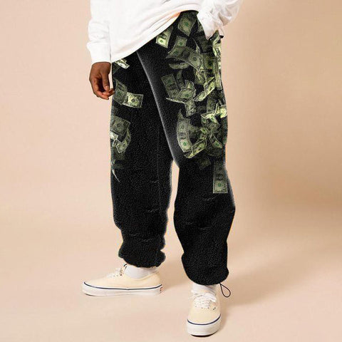 Mens fashion trend print cashmere casual pants