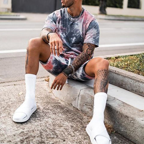 Men's casual tie-dye short-sleeved T-shirt shorts sports suit