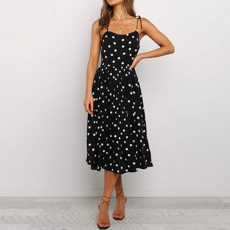 Sling Polka Dot Backless Dress
