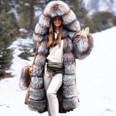 Noble Luxury Fashion Stitching Faux Fur Plus Long Overcoat