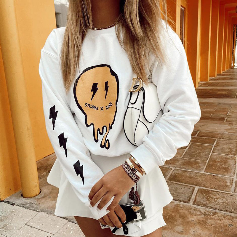 Fashion Round Neck Long Sleeve Printed Sweatshirt