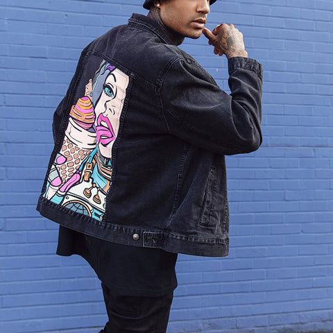 Street fashion printed denim jacket