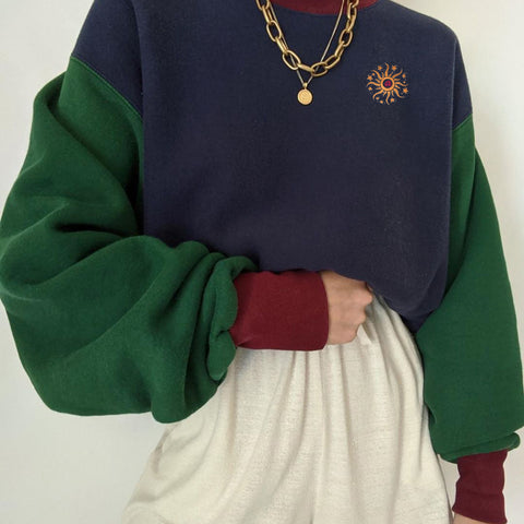 Color block all-match sweater