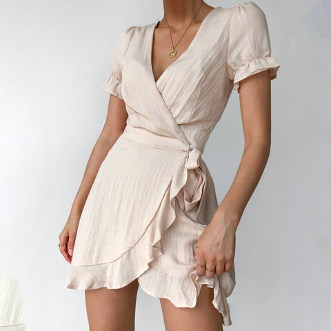 Fashion V-neck solid color ruffled mini dress