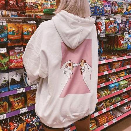 Casual Print Hooded Sweatshirt