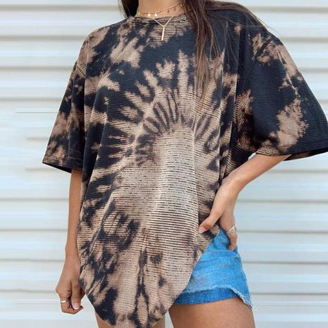 Casual Tie-dye Printed Short Sleeve T-shirts