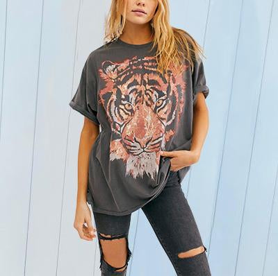 Casual Tiger Print Short Sleeve T-shirt
