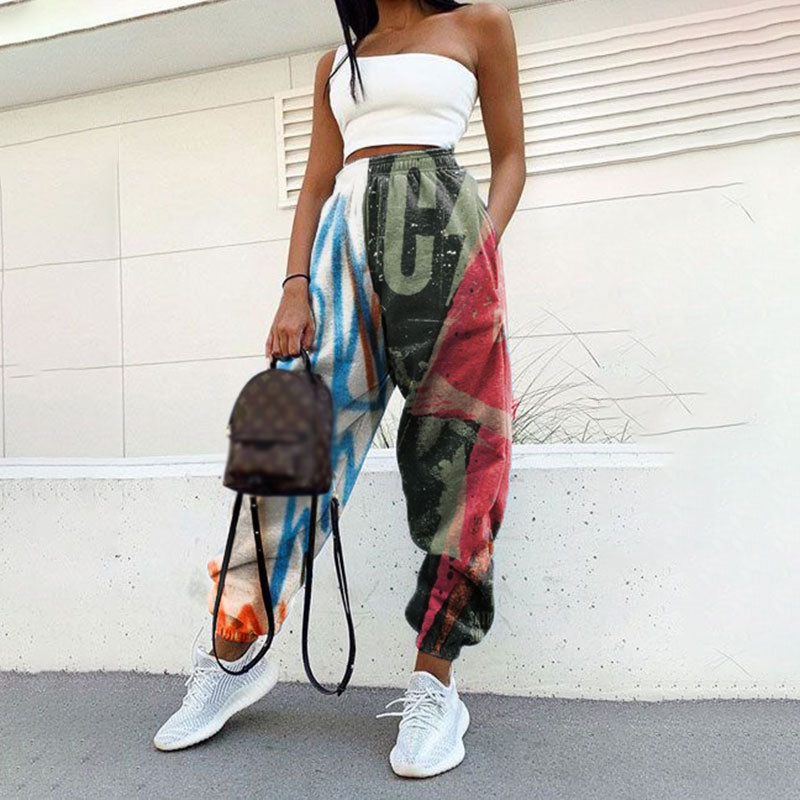 Modern Splicing Printed Loose Jogger