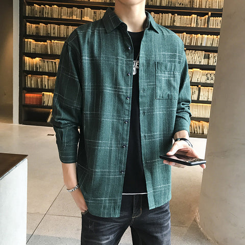 Fashion plaid loose men's shirt