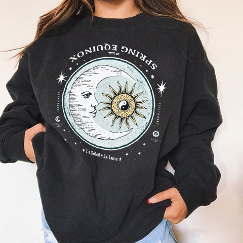 Sun Moon Print Casual Loose Sweatshirt