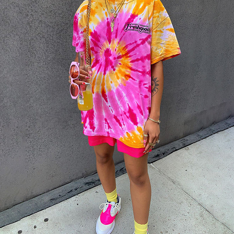 Retro loose tie dye printed T-shirt