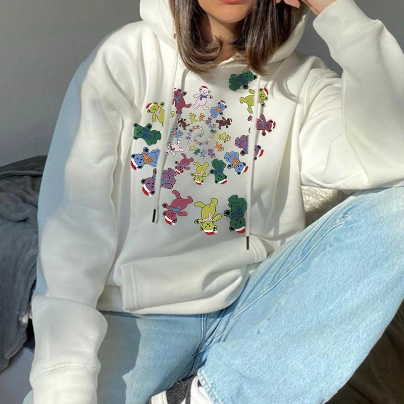 Modern Casual Printed Color Long Sleeve Hoodie