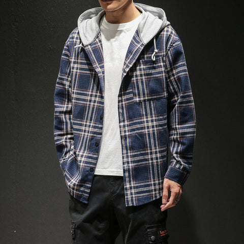 Men's casual hooded plaid shirt