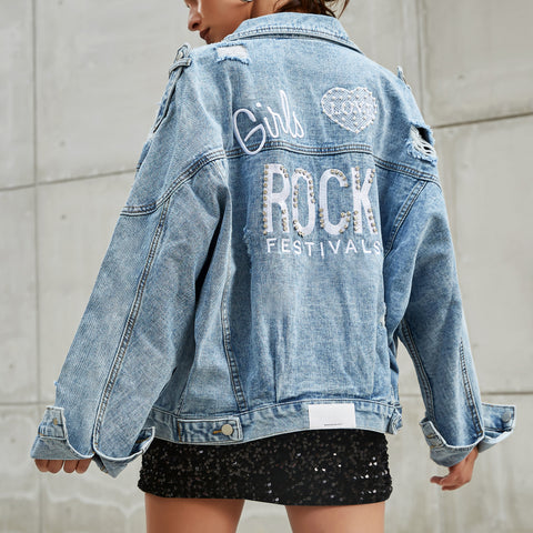 Casual Printed Colour Ripped Denim jacket
