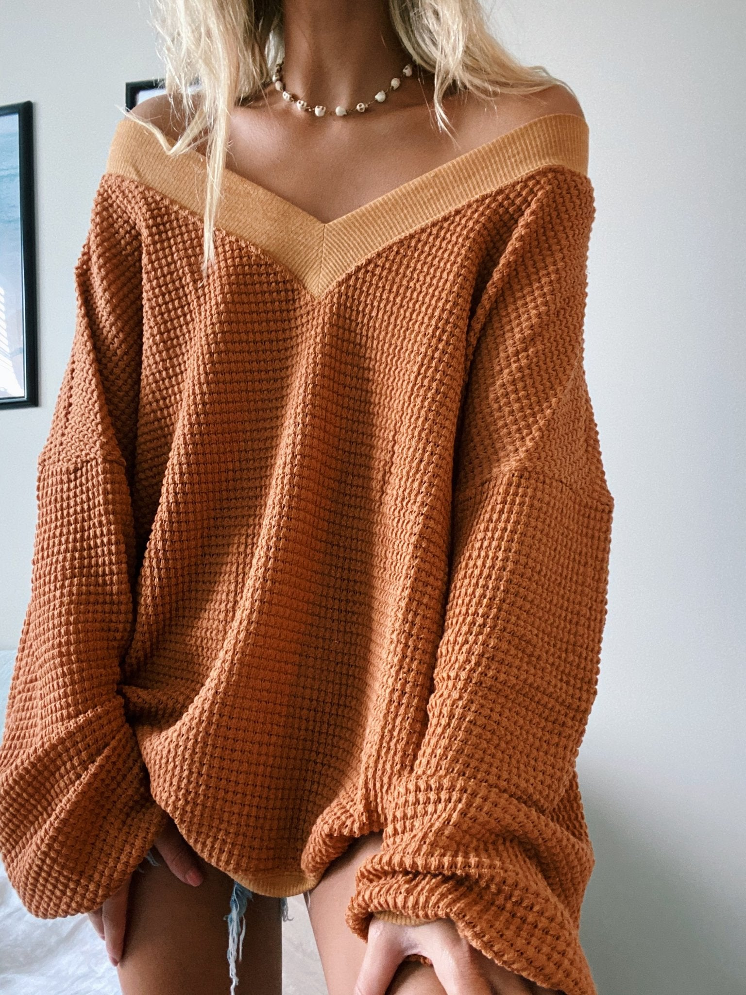 Casual Pure Color V Neck Knitwear