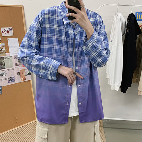 Gradient plaid shirt