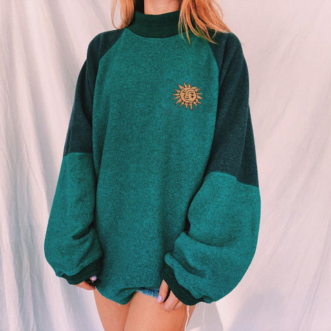 Retro hit color all-match sweatshirt