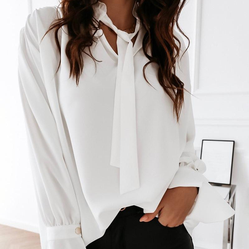 Casual Lace up Long-sleeved Loose Blouse