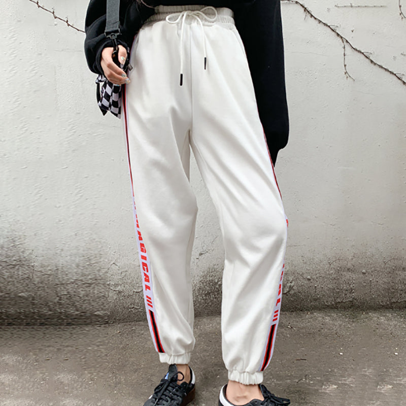 Casual lady letter printed trousers