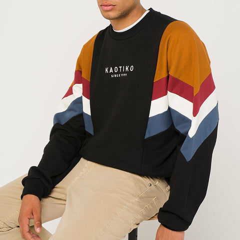 Men's Modern Casual Contrast Color Long Sleeve Sweatshirt