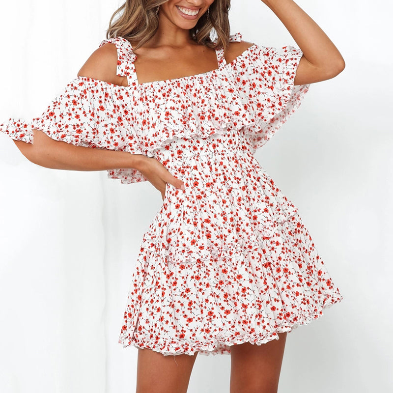 Short floral print camisole dress