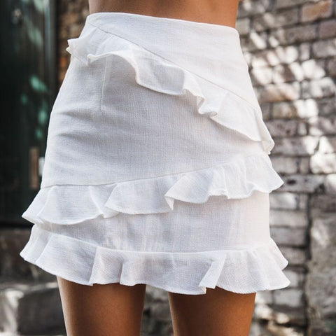 Women's Fashion Simple Pure Color Ruffled Wild Skirt