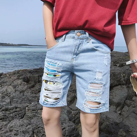 Men's casual colored ripped denim shorts