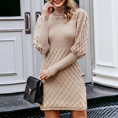 Fashion High Neck Solid Color Knit Dress